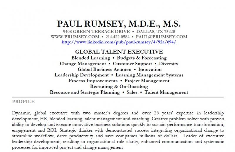 paul rumsey resume and supporting materials